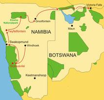 Karte große Rundreise Namibia 16 Tage ab/bis Windhoek