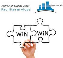 Logo ADVISA Faciliityservices Drresden GmbH mit ener verzahnung von Win-Win Wörtern.