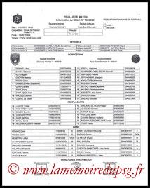 Feuille de match  Niort-PSG  2016-17
