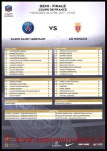 Feuille de match  PSG-Monaco  2016-17