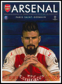 Programme  Arsenal-PSG  2016-17