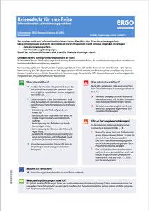 Produktinformationsblatt für die Reiseversicherung Corona-Zusatzschutz Covid-19