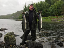 Lachse angeln in Norwegen, Straumen, mit Blinkerrute