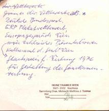 Autobiographische Notizen Heinz Traimers.