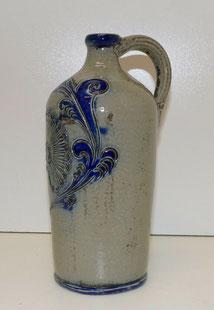 Westerwälder Keramik,Flasche, Kanne, blau grau, Blumenmotiv, 29,5 cm, ca.0,9 Ltr, € 99,00