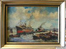 Hamburger Hafen, Öl auf Leinwand, sig., ca.1910, Ausflugsdampfer und Lastkähne
