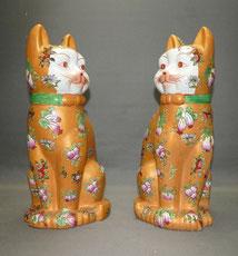 Paar große Kutani-Porzellan Katzen, Japan, Emaillfarben, 34,0 cm , € 1450,00