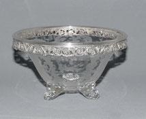 Geschliffene Glas Konfektschale, 835er Silber, Christoph Widmann, Böhmen , € 250,00