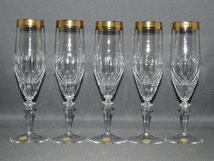 Theresienthal, 5er Satz Sektflöten, Kristall, Goldrand, Handarbeit, 20,1 cm , € 245,00