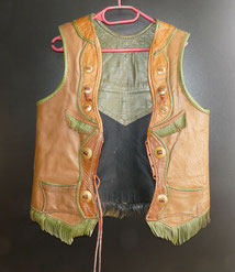Vintage, Cowboy,Western, Cowboy Vest, Three colored leather, Messingknöpfe, € 600,00