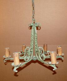 Deckenlampe, Eisen, geschmiedet, 6-flammig, grün lackiert Ø 72,0 cm, H. 120 cm, € 250,00