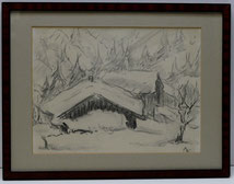 Paul Kühn,1885-1981, Kohlezeichnung, Monogrammiert und bezeichnet, Winter 40 , € 480,00