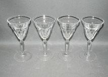 4er Satz elegante Französische Weingläser, Kristall,ca. 1910, Schälschliff,100ml, € 100,00