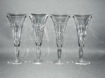 4er Satz Elegante,französische Sektgläser, Kristall,ca. 1910,Schälschliff, 120ml, € 140,00