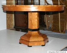 Runder Kirschbaum Tisch Biedermeier, achteckiger Säulenfuß, € 650,00