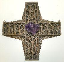 Bronze Kreuz, 80er Jahre, Lebensbaum, Amethyst, 9,0 kg, 45 x 45 cm,, € 1600,00