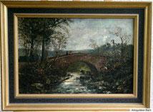 Die Begegnung, Landschaftsgemälde, Öl auf Leinwand um 1900, € 650,00