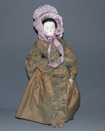 Biedermeier Puppe, China Head , Brustblattkopf, Stoffkörper, Leder, 55,0 cm , € 480,00