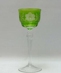 Kristallglas, Römer, hellgrün überfangen, Blumen- & Blattschliff, , 21,0 cm, € 65,00