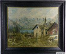 Ölgemälde einer Gebirgslandschaft mit Bergsee vor Gebirgsmassiv, im Vordergrund steinerne Kapelle in dörflicher Siedlung mit Holzhäusern, € 400,00