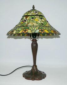 Tischlampe im Tiffany-Stil, durchgefärbtes Glas, Jugendstil, Blumen, 56,5 cm, € 249,00