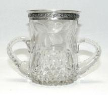 Glas Vase, geschliffen, Henkel, 915er Silbermontur, Spanien, € 280,00