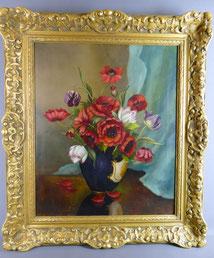 Lucien Lé Bois 1834, Öl auf Leinwand, Blumenstillleben, Biedermeier,Goldrahmen,, € 950,00