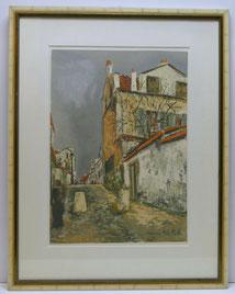 Maurice Utrillo, Lithographie, französische Kleinstadt bei Paris,Impressionismus , € 560,00