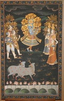 Große indische Seidenmalerei, Krishna, Heilige Kühe, 137,0 cm x 86,0 cm, € 550,00