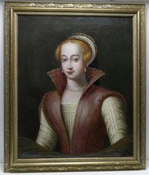 Portrait englische Lady, Spanish hood, Perlenschmuck um 1700 , € 3550,00