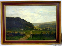 Axel Wilhelm Nordgren 1828-1888 Norwegische Landschaft mit Dorf Öl auf Leinw., € 1600,00