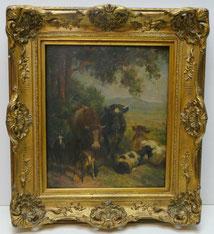 Georg Wolf, Tiermaler Düsseldorfer Schule, Kühe und Ziegen, Goldrahmen, € 1450,00
