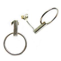Ohrstecker: hängender offener Kreis, minimalistische 925er Silber Ohrstecker, Kreis-Ohrstecker elegant und klassische Ohrringe