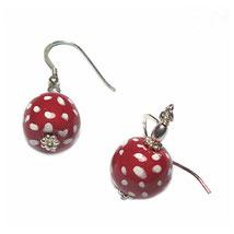 Polkadot Ohrringe, Hänger, Kugel Punkte Ohrring mit hübschen Rot-Weiß Punkt Muster