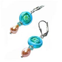 Ohrringe, Ohrhänger, wunderschöne handgefertigt Glasohrhänger mit echter Perle und 925 Silber kombiniert