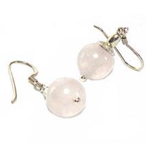 Schlichte Rosenquarzkugel Ohrringe, hängend, 925 Silber
