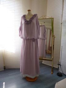 Hochzeitskleid Seidenchiffon, Brautkleid, ital. Seidensatin , Seidenchiffon fliederfarbend