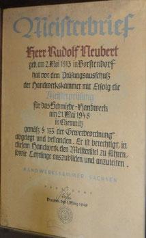 Bild: Meisterbrief Neubert Wünschendorf Schmied