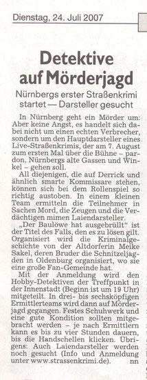 """Zeitungsartikel der Nürnberger Nachrichten vom 07.07.2007: """"Detektive auf Mörderjagd""""- Quelle: nn / Nürnberger Nachrichten"""
