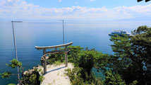 竹生島から見える琵琶湖