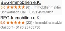 Bild mit zusammengefassten Google Location Reviews - BEG-Immobilien Gaildorf Kreis Schwäbisch Hall
