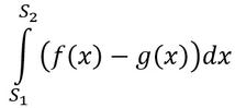 Formel zur Berechnung von der Fläche zwischen zwei Graphen.