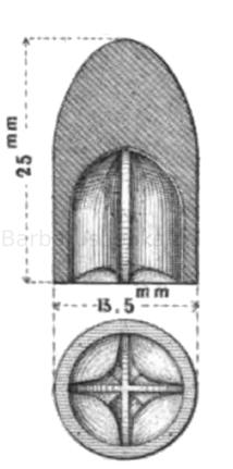 hessisches Expansionsgeschoss mit sternförmiger Höhlung, nach Plönnies