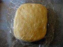 Mettre la pâte sur une plaque avec du papier cuisson,donner une forme rectangulaire, couvrir -la avec un film alimentaire