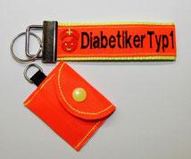 Diabetiker  Schlüsselanhänger Notfallset Anhänger Diabetes Typ1 neonorange