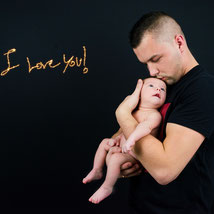 On this picture we see father and his child. This photo was made by in our studio.