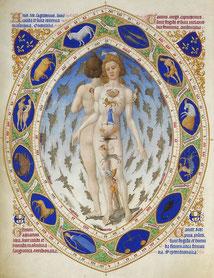 Der Mensch mit seinem Tierkreiszeichen, Brüder von Limburg (14. Jhd.)