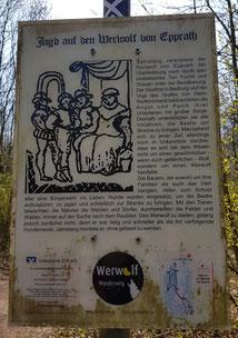 Werwolf Wanderweg, Bedburg, Schild 3, Kasterer See, Jagd, Epprath