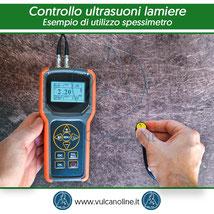 Esempio di utilizzo spessimetro ad ultrasuoni modello VLSTC3000 su lamiera piana grezza