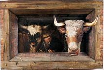 Georg Kneipp, Vaches dans une étable, 1841, huile sur bois, collection musée des beaux-arts de Brest métropole.